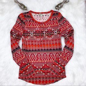 Lucky Brand Boho Sweater Design Henley Size S